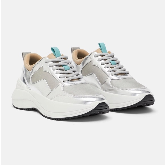 Zara Shoes | Laminated Silver Sneakers